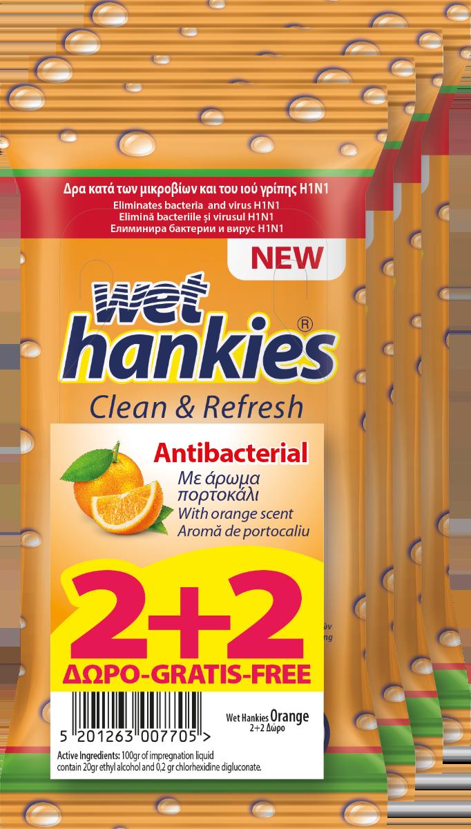 Υγρά Αντιβακτηριδιακά Mαντήλια Kαθαρισμού χεριών Πορτοκάλι Wet Hankies 2+2 Δώρο (4x15τεμ)