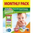 Πάνες Babylino Sensitive Monthly Pack No4+ (10-15Kg) 184τεμ.