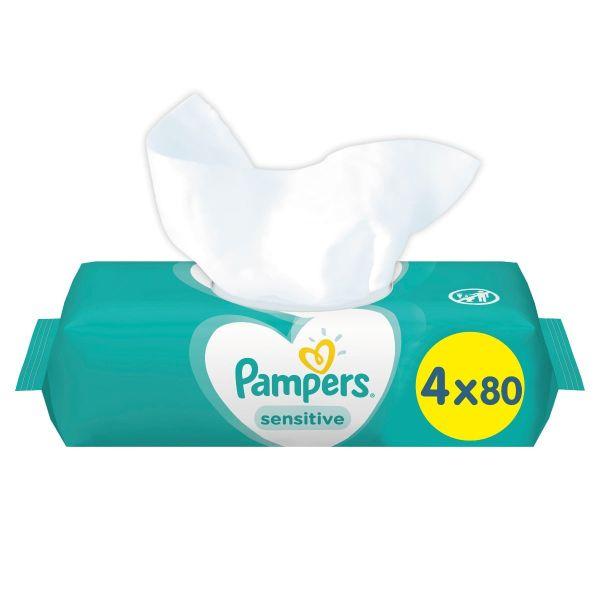 Μωρομάντηλα Pampers Sensitive 320τεμ (4×80τεμ)