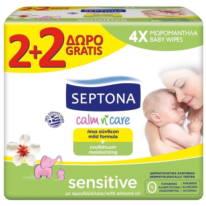 Septona Mωρομάντηλα Calm n' Care Sensitive 2+2 Δώρο (4x64τεμάχια)
