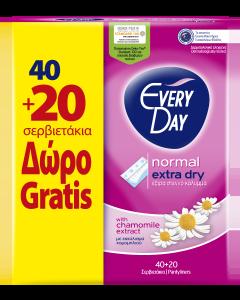 EveryDay Σερβιετάκια  Extra Dry Normal Οικονομική Συσκευασία 40τεμ+20τεμ Δώρο