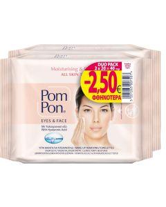 Pom-Pon Υγρά Μαντήλια Ντεμακιγιάζ για Μάτια και Πρόσωπο All Skin Types 2x20τμχ