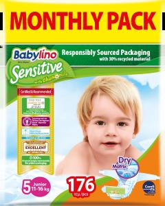 Πάνες Babylino Sensitive Monthly Pack No5 (11-16Kg) 176τεμ.