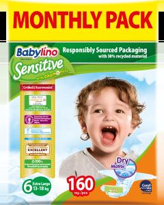 Πάνες Babylino Sensitive Monthly Pack No6 (13-18Kg) 160τεμ.