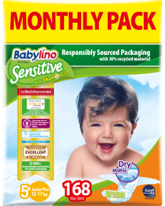 Πάνες Babylino Sensitive Monthly Pack No5+ (12-17Kg) 168τεμ.
