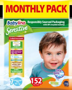 Πάνες Babylino Sensitive Monthly Pack No7 (15+Kg) 152τεμ.