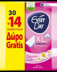 Σερβιετάκια EveryDay Extra Dry EXTRA LONG οικονομική συσκευασία 30τεμ. + 14τεμ. Δώρο