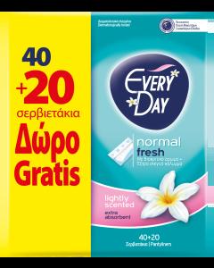 Σερβιετάκια EveryDay Fresh NORMAL Οικονομική Συσκευασία 40 τεμ.+20 τεμ. Δώρο