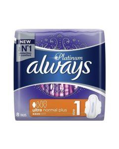 Always Platinum Ultra Normal Plus Σερβιέτες Με Φτερά 8 τεμάχια (Μέγεθος 1)