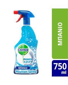 Dettol Πολυκαθαριστικό Spray Μπάνιου Mountain Spring  500ml+250ml ΔΩΡΟ