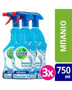 Dettol Πολυκαθαριστικό Spray Μπάνιου Mountain Spring  3x 500ml+250ml ΔΩΡΟ