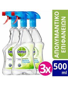 Dettol Απολυμαντικό Spray Καθαρισμού Υγιεινή και Ασφάλεια Lime & Mint 3x500ml