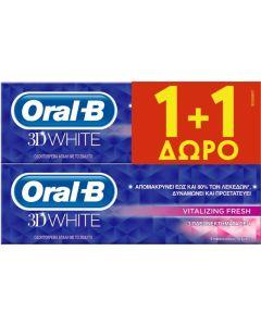 Oral-B 3D White Vitalizing Fresh Οδοντόκρεμα 75ml 1+1 Δώρο