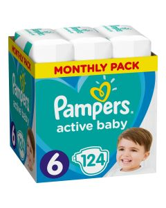 Πάνες Pampers Active Baby Monthly Box Νο6 (13-18kg) 124τεμ