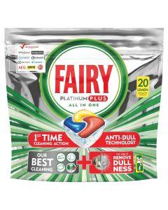 Fairy Platinum Plus Κάψουλες Πλυντηρίου Πιάτων Λεμόνι 20 Κάψουλες