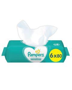 Μωρομάντηλα Pampers Sensitive XXL Pack 480τεμ (6x80τεμ)