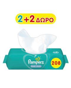 Μωρομάντηλα Pampers Fresh 208τεμ 2+2 Δώρο (4x52τεμ)