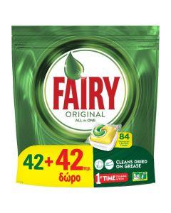 Fairy All In One Original Κάψουλες Πλυντηρίου Πιάτων 42+42 Δώρο (84 Σύνολο)
