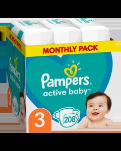 Πάνες Pampers Active Baby Monthly Box Νο3 (6-10kg) 208τεμ