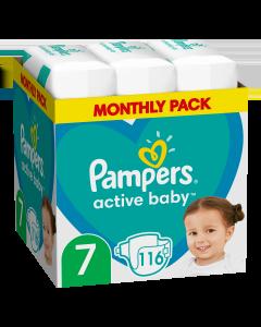Πάνες Pampers Active Baby Monthly Box Νο7 (15+kg) 116τεμ