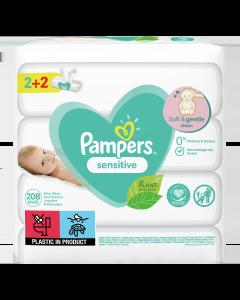 Μωρομάντηλα Pampers Sensitive 208τεμ (4x52τεμ) 2+2 ΔΩΡΟ