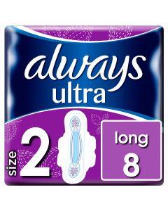 Always Ultra Long Plus (Μέγεθος 2) Σερβιέτες Με Φτερά 8 Τεμάχια