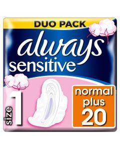 Always Ultra Sensitive Normal Plus Duo (Μέγεθος 1) Σερβιέτες Με Φτερά 20 τεμάχια
