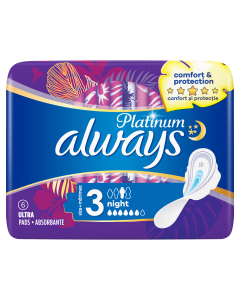 Always Platinum Night Σερβιέτες No3, 6 τμχ
