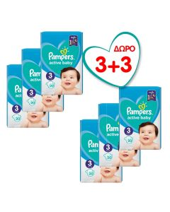 Πάνες Pampers Active Baby Carry Box Νο3 (6-10kg) 60τεμ+60τεμ Δώρο (120τεμ)