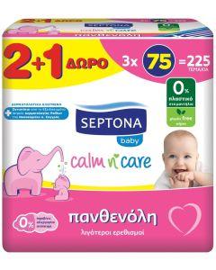 Mωρομάντηλα Septona Calm n' Care Πανθενόλη, 225τεμ (3x75τεμάχια)