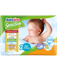 Πάνες Babylino Sensitive Carry Pack No2 (3-6Kg) 26τεμ