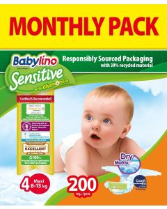 Πάνες Babylino Sensitive Monthly Pack No4 (8-13Kg) 200τεμ.