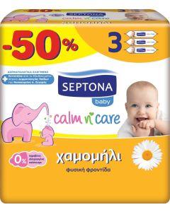 Septona Mωρομάντηλα Calm n' Care με Χαμομήλι -50% (3x64τεμάχια)