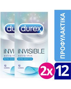 Durex Προφυλακτικά Invisible (2x12τεμ) 24τεμ
