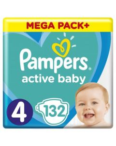 Πάνες Pampers  Active Baby Mega Pack Νο4 (9-14kg) 132τεμ