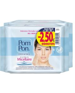 Pom-Pon Υγρά Μαντήλια Ντεμακιγιάζ για Μάτια και Πρόσωπο 2x20τμχ