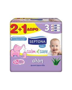 Mωρομάντηλα Septona Calm n' Care Αλόη 2+1 Δώρο (3x57 τμχ)