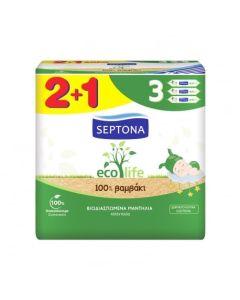 Septona Mωρομάντηλα Ecolife Βιοδιασπώμενα -100% βαμβάκι 2+1 Δώρο (3x60τεμάχια)