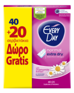 EveryDay Σερβιετάκια  Extra Dry Normal Οικονομική Συσκευασία 40τεμ+20τεμ Δώρο