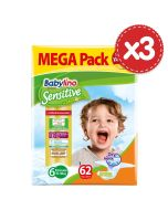 Πάνες Babylino Sensitive Mega Pack No6 (15-30Kg) 186τεμ (3Χ62τεμ)