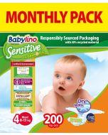 Πάνες Babylino Sensitive Monthly Pack No4 (8-13Kg) 200τεμ.